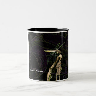 Dragonfly mug, with an edited dragonfly photo Two-Tone coffee mug