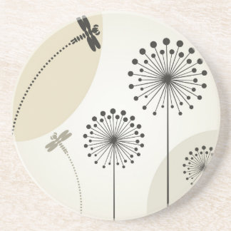 Dragonfly on a flower beverage coasters