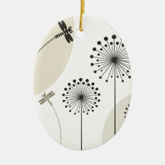 Dragonfly on a flower ceramic ornament