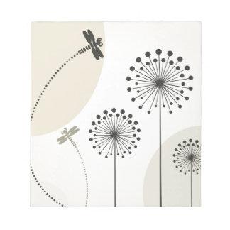 Dragonfly on a flower notepad