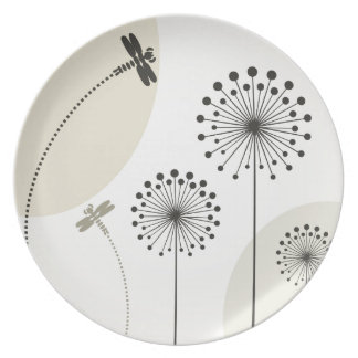 Dragonfly on a flower party plate