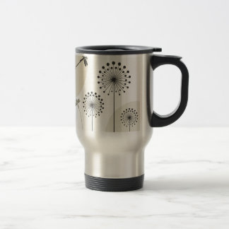 Dragonfly on a flower travel mug