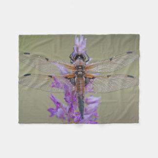 Dragonfly On Flower Fleece Blanket
