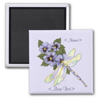 Dragonfly & Pansies - Customize Square Magnet