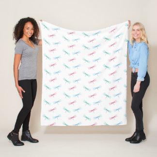 Dragonfly pattern fleece blanket