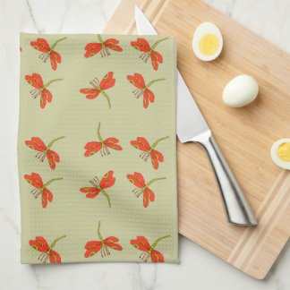 Dragonfly pattern kitchen towel