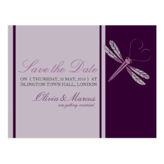 Dragonfly 'Plum' Save the Date Postcards
