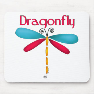 Dragonfly - red/teal mouse pad