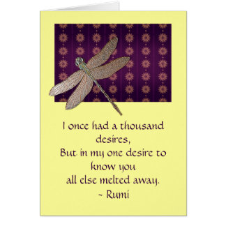 Dragonfly & Rumi Quote Inspirational Card
