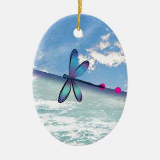 dragonfly-sea-sky ceramic ornament