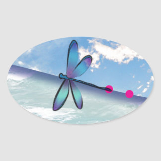 dragonfly-sea-sky oval sticker