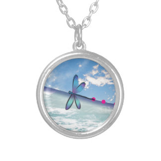 dragonfly-sea-sky silver plated necklace