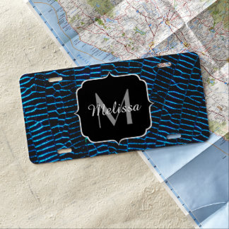 Dragonfly shiny vibrant blue wings Monogram License Plate