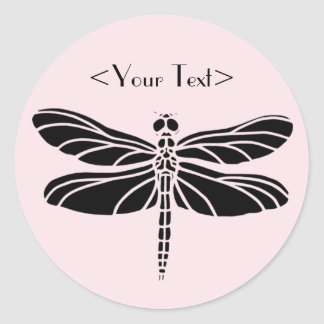 Dragonfly Silhouette Classic Round Sticker