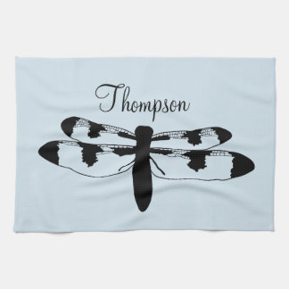 Dragonfly silhouette with Name on towel