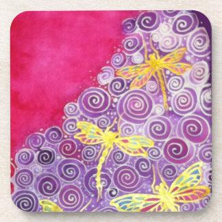 Dragonfly Silk painting coasters by Cyn Mc