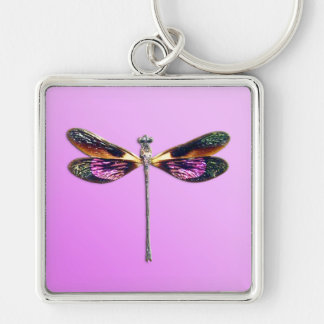 Dragonfly - silver, gold, purple and black keychain