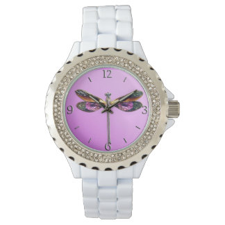 Dragonfly - silver, gold, purple and black watch