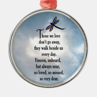 "Dragonfly ""So Loved"" Poem Silver-Colored Round Ornament"
