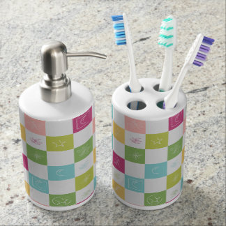 Dragonfly Stars Moons Leaves Pastel Quilt Soap Dispenser And Toothbrush Holder