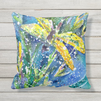 Dragonfly Summer watercolor throw pillow