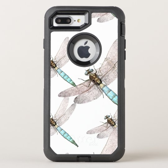 Dragonfly Swarm on White OtterBox Defender iPhone 8 Plus/7 Plus Case