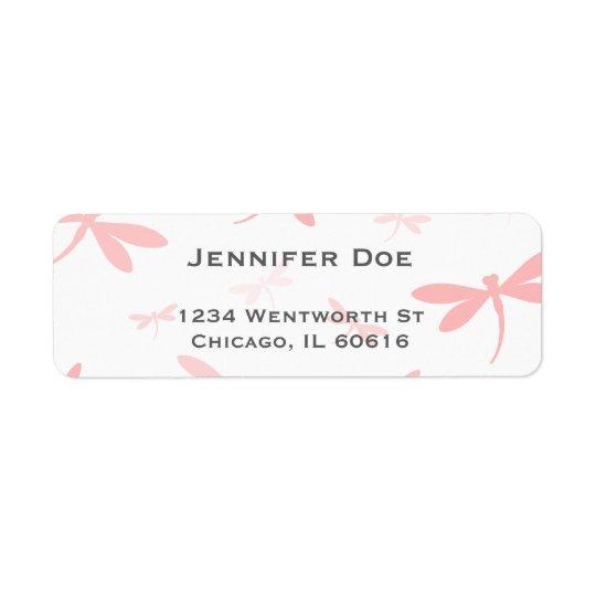 Dragonfly Swarm Template | Coral Pink Return Address Label