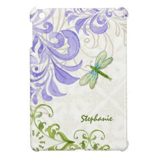 Dragonfly Swirl Flourish Watercolor Personalized iPad Mini Covers