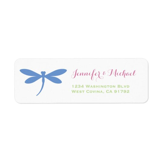 Dragonfly | Tropical Colours | Blue Pink Green Return Address Label
