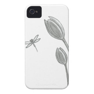 Dragonfly Tulip Drawing iPhone 4 Case