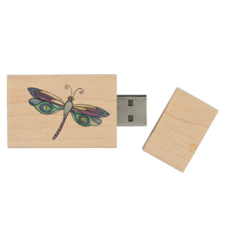 Dragonfly USB Wood USB Flash Drive