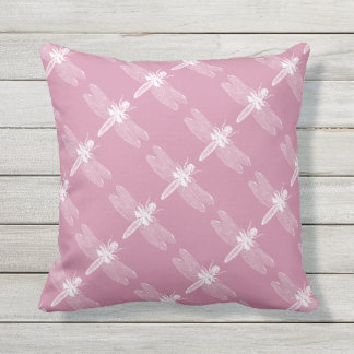 Dragonfly Vintage Inspired Pink Insect Bug Pattern Outdoor Pillow