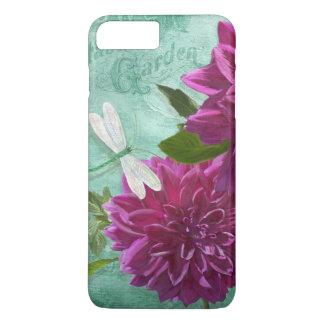 Dragonfly w Purple Dinner Plate Dahlia Flowers iPhone 7 Plus Case