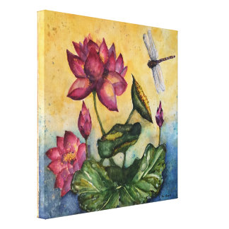 Dragonfly Watercolor Canvas Print 12x12