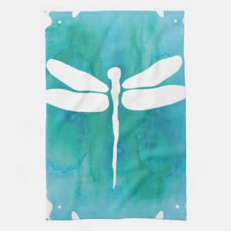Dragonfly Watercolor White Aqua Blue Dragonflies Kitchen Towel