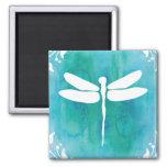Dragonfly Watercolor White Aqua Blue Dragonflies Square Magnet