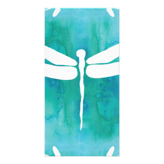 Dragonfly Watercolor White Aqua Blue Dragonflies Photo Card