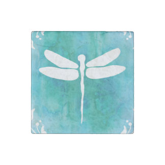 Dragonfly Watercolor White Aqua Blue Dragonflies Stone Magnets