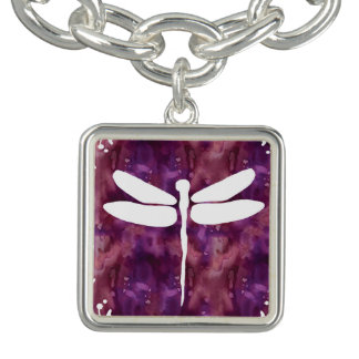Dragonfly Watercolor White Purple Red Dragonflies Charm Bracelet
