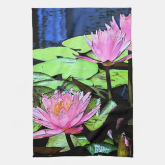 Dragonfly Waterlily Kitchen Towel