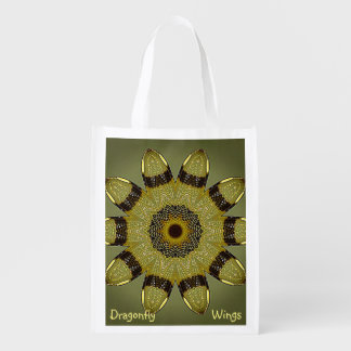 Dragonfly Wings Kaleidoscope Market Bag Reusable Grocery Bags
