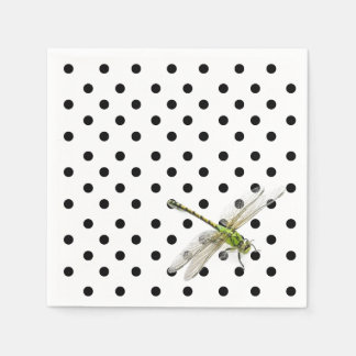Dragonfly with black and white polka dots paper napkin