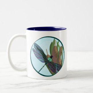 Dragonfly with cattails, with patterns coffee mug