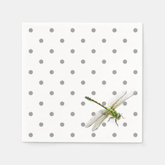 Dragonfly with grey polka dots napkin