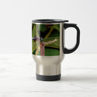 Dragonfly with white flowers coffee mug