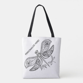 DRAGONFLY YOU COLORIT ALL OVER CANVAS TOTE BAG