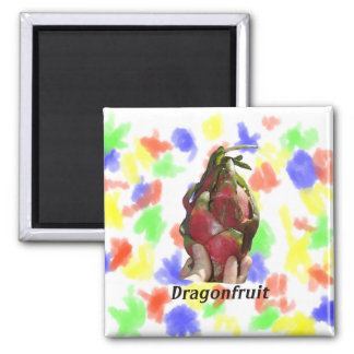 Dragonfruit held in fingers with text photo Pitaya Magnet