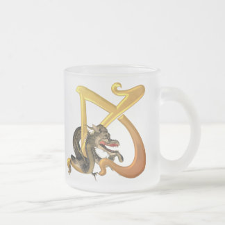 Dragonlore Initial K Frosted Glass Coffee Mug