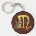 Dragonlore Initial M Basic Round Button Keychain