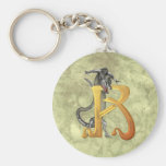 Dragonlore Initial R Basic Round Button Keychain